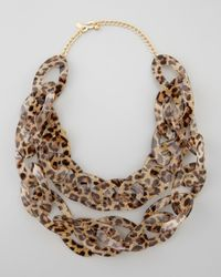 Kenneth Jay Lane | Multicolor Double Strand Leopard Print Enamel Necklace  | Lyst