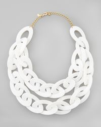 Kenneth Jay Lane | Doublestrand Enamel Link Necklace White | Lyst