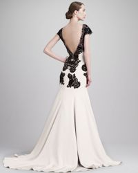 Lela Rose Natural Capsleeve Backless Lace Cady Gown Blackivory
