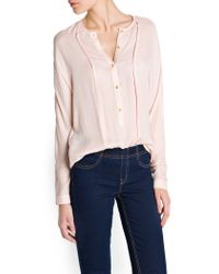 Mango - Pink Pintuck Details Light Blouse - Lyst