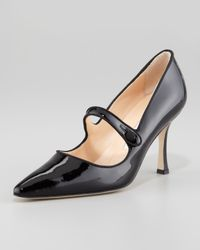 Manolo Blahnik Black Campari Patent Leather Mary Jane