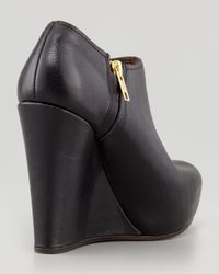 Marni Blue Polished Leather Wedge Bootie Black