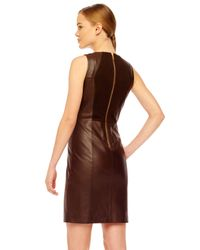 MICHAEL Michael Kors Brown Fitted Leather Dress