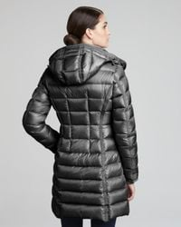 Moncler Gray Hooded Long Puffer Coat Charcoal