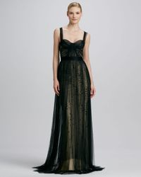 Monique Lhuillier - Black Bustier Overlay Gown - Lyst