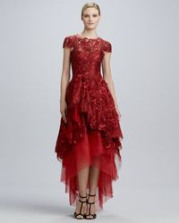 Monique Lhuillier Red Highlow Floralembroidery Ball Gown