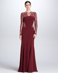 Monique Lhuillier Red Lacedetail Longsleeve Crepe Gown