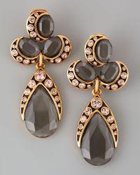 Oscar de la Renta | Faceted Cluster Teardrop Earrings Gray/pink | Lyst