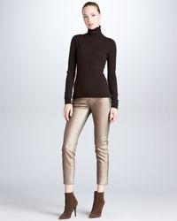Ralph Lauren Black Label 400 Cropped Matchstick Metallic Jeans Aged Bronze