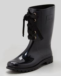 RED Valentino Laceup Rain Boot Black