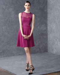 RED Valentino Purple Ponte Jersey Dress with Point Desprit and Embellished Sweetheart Neckline Raspberry