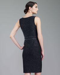 St. John Black Couture Shimmer Tweed Dress Caviarsilver