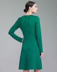 St. John Milano Knit Jewelneck Dress Kelly Green