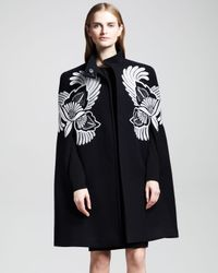 Stella McCartney Black Flowerfeather Embroidered Cape Coat