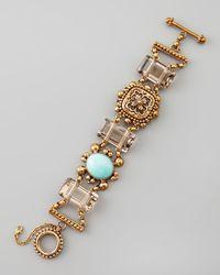 Stephen Dweck Metallic Turquoise Smoky Quartz Bracelet
