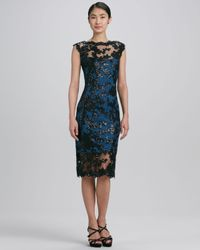 Tadashi Shoji Blue Sleeveless Scalloped Lace Cocktail Dress