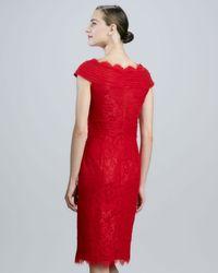 Tadashi Shoji Red Scalloped Lace Cocktail Dress