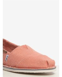 TOMS Pink Perforated Bimini Stitchout Slip-ons