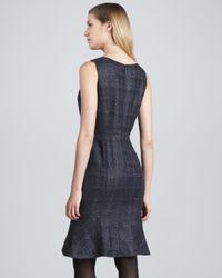 Tory Burch Blue Glazed Tweed Drew Dress Navy
