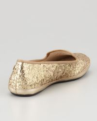 UGG Metallic Asher Shearlinglined Glitter Loafer Champagne