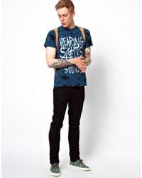 Vans Blue Tshirt Tie Dye Hearing Sights Print Slim Fit for men