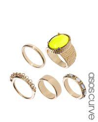 ASOS - Metallic Stone Ring Pack - Lyst
