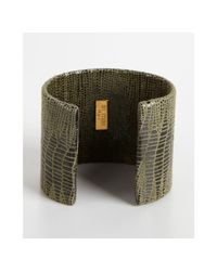 A.V. Max | Green Olive Python Embossed Leather Cuff | Lyst