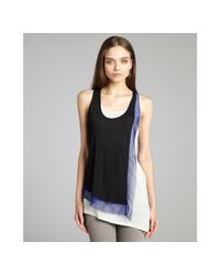BCBGMAXAZRIA | Black and Blue Clyde Layered Front Asymmetrical Tank Top | Lyst