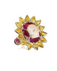 Bernard Delettrez - Metallic Gold, Ruby And Yellow Sapphires Skull Bone Ring - Lyst