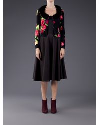 Blumarine Black Mink Collar Floral Cardigan