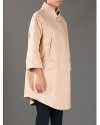 Carven Pink Draped Cape Coat