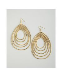 CC SKYE | Metallic Gold Disco Hoop Tiered Wire Drop Earrings | Lyst