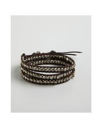 Chan Luu - Brown Pyrite and Skull Bead Leather Wrap Bracelet - Lyst