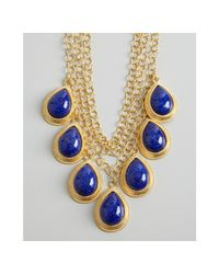 David Aubrey | Gold and Blue Glass Teardrop Multi Chain Necklace | Lyst