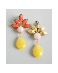 David Aubrey - Metallic Yellow Coral and Pink Multi Stone Drop Earrings - Lyst
