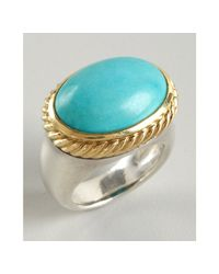 David Yurman | Metallic Turquoise Signature Oval Stone Ring | Lyst