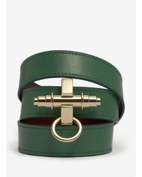 Givenchy Green Obsedia Wrapped Leather Bracelet