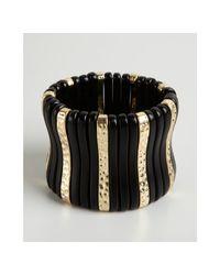 Kenneth Jay Lane | Metallic Black Acrylic and Gold Metal Plank Stretch Bracelet | Lyst