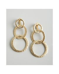 Kenneth Jay Lane | White Gold Hammered Triple Hoop Clip On Earrings | Lyst