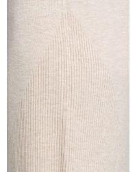 Mango - Natural Ribbed Knit Dress - Lyst