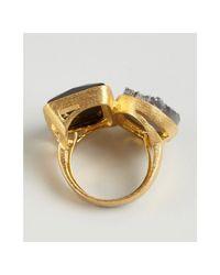 Marcia Moran - Metallic Gold Plated Druzy and Stone Geometric Ring - Lyst