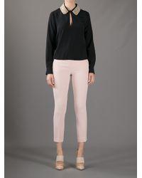 Boutique Moschino Black Pearl Collar Blouse
