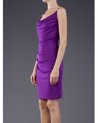 Nicole Miller Purple Cowl Neck Tank Dress