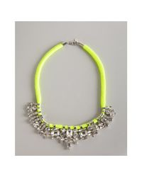 Noir Jewelry - Neon Yellow Jeweled Fabric Necklace - Lyst