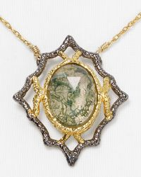 Alexis Bittar Metallic Jardin De Papillon Lace Moss Agate Doublet Pendant Necklace 15