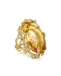 Bernard Delettrez Metallic Medusa Gold and Citrine Ring