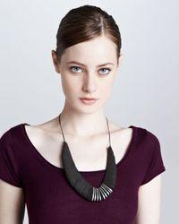 Donna Karan | Black Leather Torque Necklace | Lyst