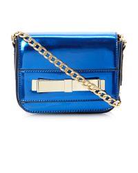 Dune Blue Ecrazy Metallic Bow Front Cross Body Bag