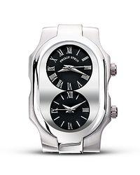 Philip Stein Metallic Signature Double Watch Head Black Dial 42 Mm