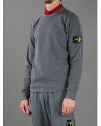 Stone Island Gray Crew Neck Sweatshirt for men
